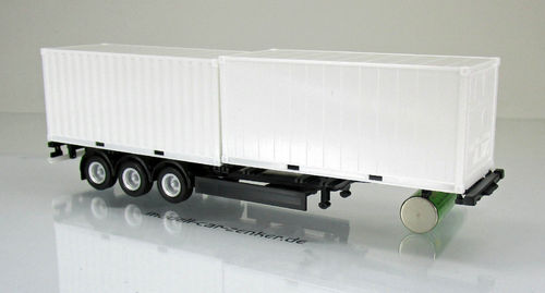 40 ft. Containerchassis mit 2 x 20 ft. Container, Chassis schwarz in 1:87