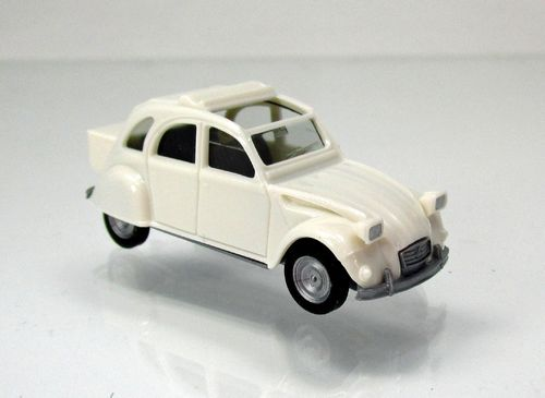 Citroen 2 CV mit Queue, perlweiß
