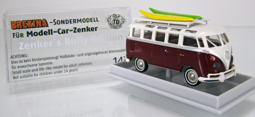 "Volkswagen VW Samba "" Zenker´s Bully Edition 2014 "" purpurrot/creme mit Surfbrettern - US - Version"