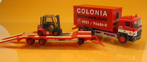 MAN F 90 Container-LKW m. Goldhofer TU3 u. Gabelstapler Colonia